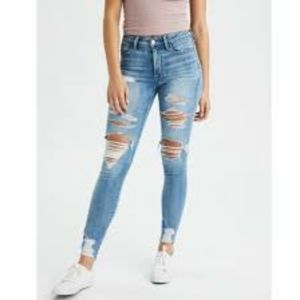 American Eagle Hi Rise Jeggings Skinny Jeans Distressed High Waisted